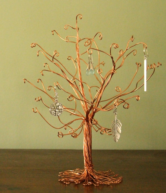 Exhibition Stand Tree : Copper jewelry tree stand wire display earrings necklace rings