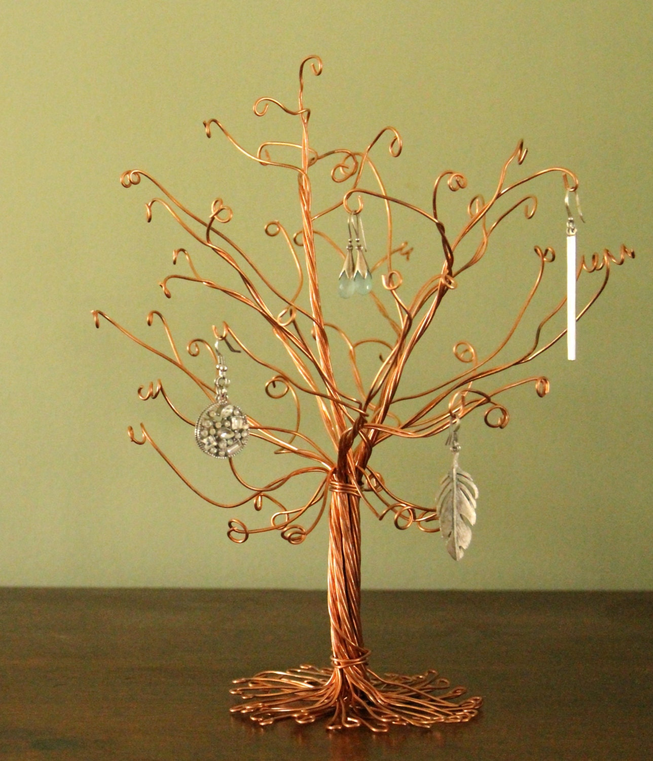Copper jewelry tree stand wire display earrings necklace rings for How to make a wire tree jewelry stand