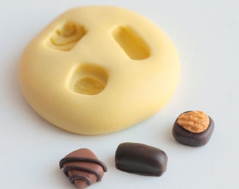 Silicon miniature chocolates mould series 1 Fimo, resin, plaster