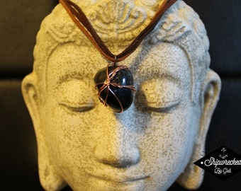 Handmade, Onyx wire wrapped pendant, necklace!