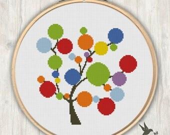 Rainbow Tree Cross Stitch Pattern, modern cross stitch pattern, needlecraft
