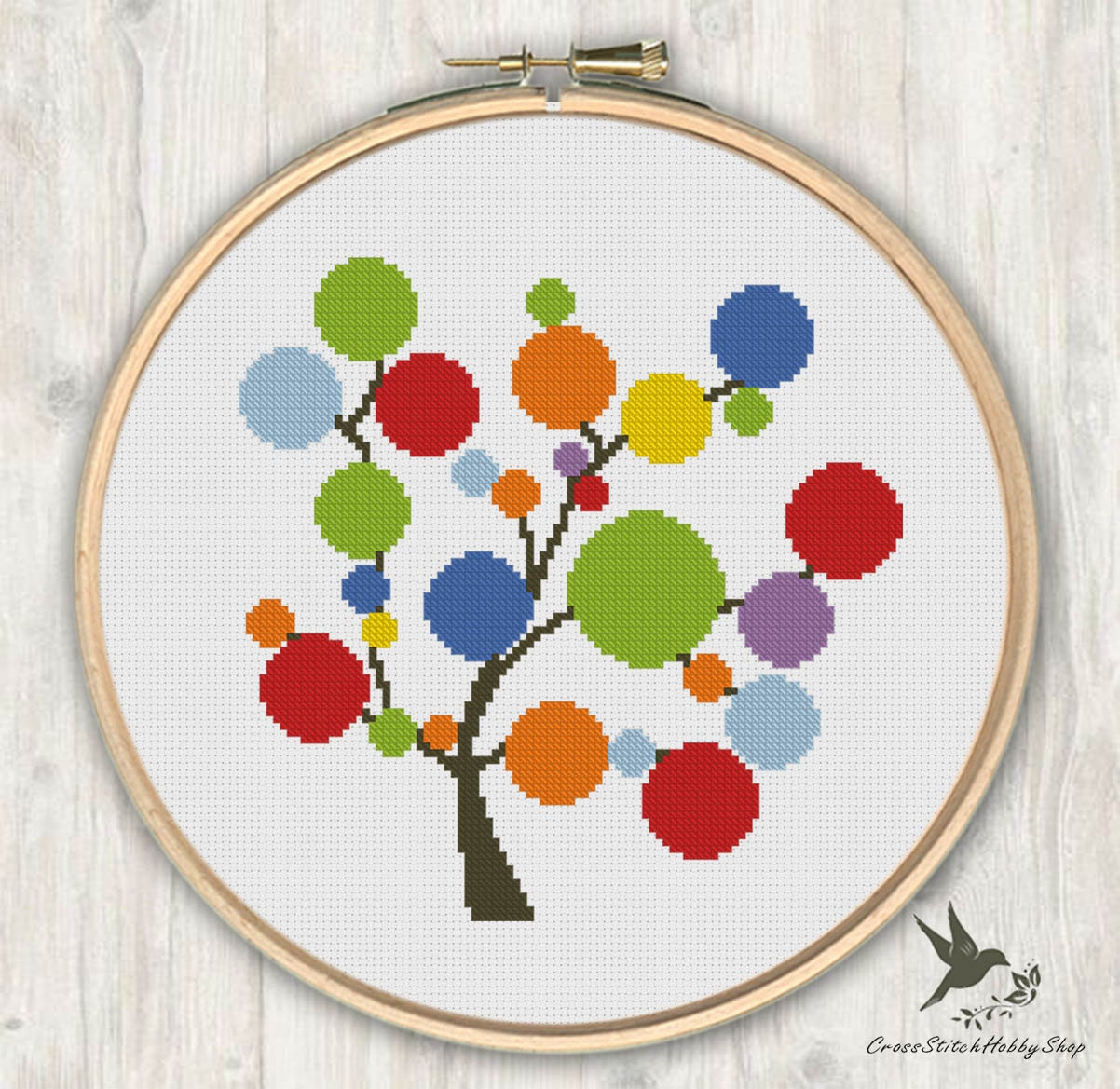 Rainbow tree cross stitch pattern modern
