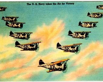 U S Navy Airplanes Propaganda: A digital print of a postcard from 1936