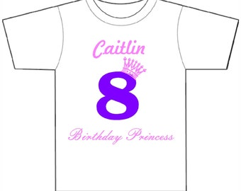 Birthday Princess custom shirt, Personalized Kid's Birthday Shirt, Birthday Princess with crown