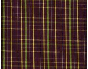 Fat Quarter, Recycle Fabric, VIO1466RF, 100% Cotton Fabric, Violet, Yellow and Green Plaid