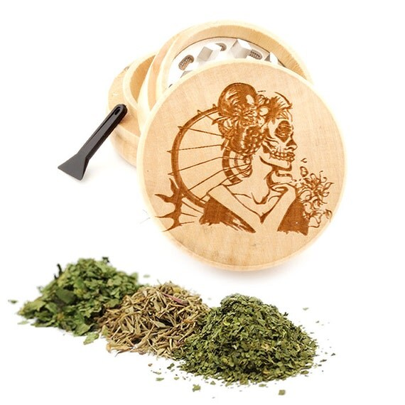 Geisha Engraved Premium Natural Wooden Grinder Item # PW050916-129