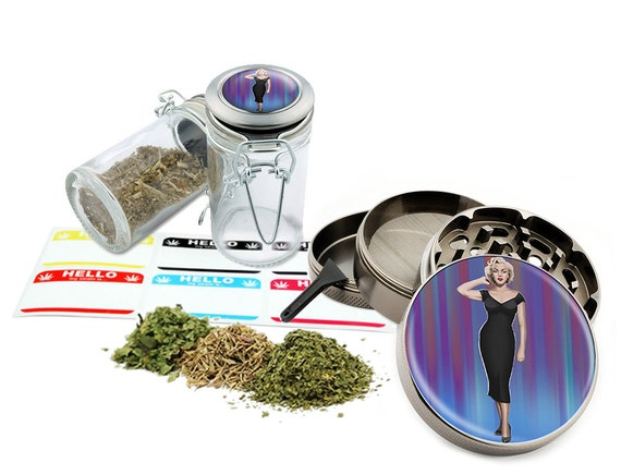 "Marilyn Monroe - 2.5"" Zinc Alloy Grinder & 75ml Locking Top Glass Jar Combo Gift Set Item # 50G012516-16"