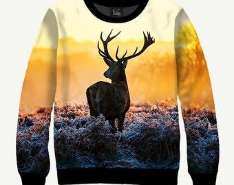 Deer & Sunrise - Men's Women's Sweatshirt | Sweater - XS, S, M, L, XL, 2XL, 3XL, 4XL, 5XL
