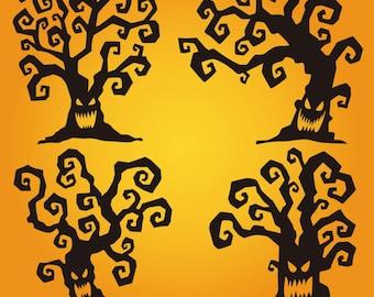 Halloween trees svg, instant download, clipart, clip art, digital