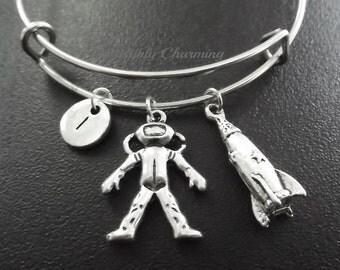 Astronaut, rocket, scientist silver tone Expandable Bangle, monogram personalized item No.789