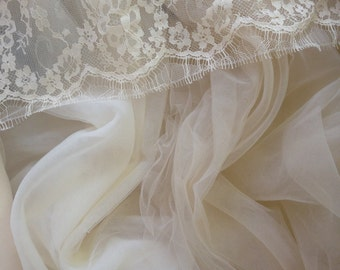 Beige color Soft silk like tulle fabric  - almost 3 METERS WIDTH
