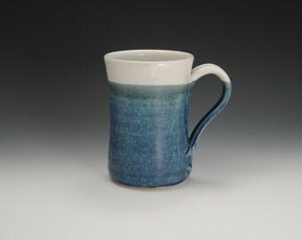 Handmade Stoneware Coffee Mug Blue and White