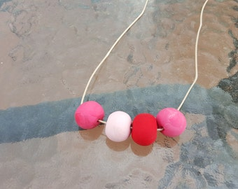 Hand Made Pink Polymer Clay Necklace