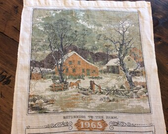 Vintage 1968 Linen Calender - Returning to the Farm (A778)