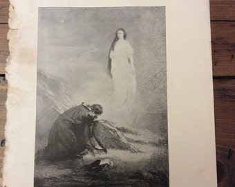 Antique Print - Typogravure, Byron, Manfred, 1892 Book Page (B028)