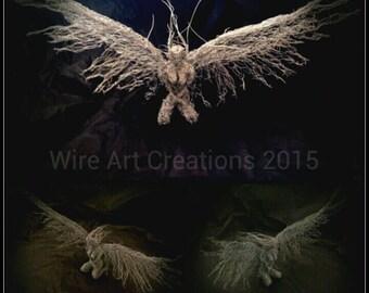Kneeling Angel handmade wire sculpture