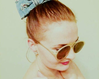 OVERSIZED BOW hair clip, bow TIE, distressed washed denim beaded and patchworked/handmade hair clips/ sign your style