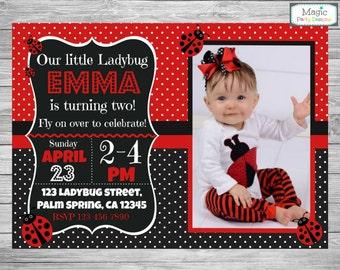 Ladybug invitation, Ladybug birthday invitation, Ladybug invite, 1st ladybug invitation, ladybird invitation, ladybug photo invitation