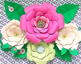 DIY Large Paper flower templates, Paper flower kit, Paper flower SVG files, Large paper flower templates, Backdrop flowers