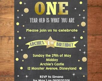 Birthday Custom Invitation - Chalkboard Yellow Gold Confetti - Digital 5x7 File