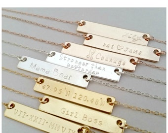 Personalized Bar Necklace | Custom Hand Stamped | Nameplate Necklace | Engraved stamped necklace | Gold or Silver Name Bar Necklace (MB36)
