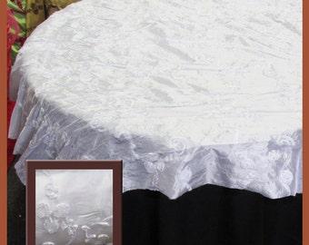 "White Ribbon Taffeta Overlay Wedding and Party Supplies 58"" X 58"""