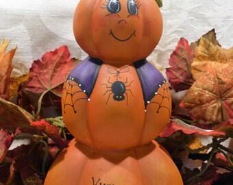 Hand Painted Halloween Pumpkin, Pumpkin Stack, 3 tier Pumpkins, Halloween Decor, Painted Pumpkin