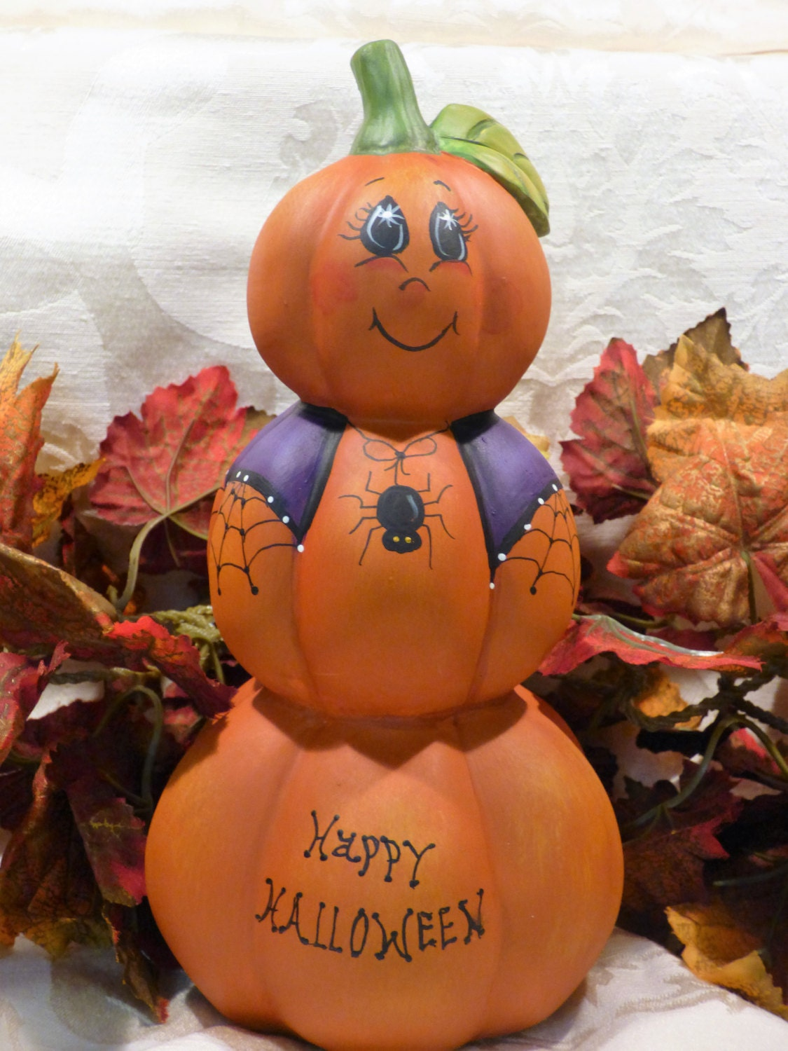 Hand painted halloween pumpkin pumpkin stack 3 tier for 3 tier pumpkin decoration