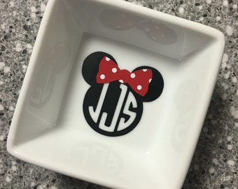 Disney Inspired Minnie Monogrammed Ring Dish or Love - Customized for the Disney Fan you know!