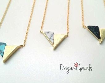 Triangle Marble Necklace, white stone necklace,black marble necklace,stone Jewelry, simple gold necklace,mother's day gift,bridesmaids gifts