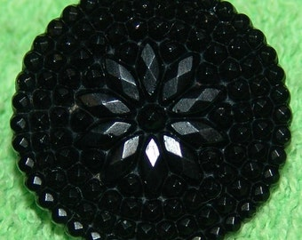 """Beautiful Antique Black Glass Button ~ Victorian Mourning Button ~ Pressed Facet Glass ~ Brass """"Hump"""" Rosette Shank ~ Just Lovely!"""
