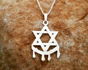 Star of David Hebrew Name Necklace / Hebrew David Protector  necklace / ORDER ANY NAME/ Bar-Mitzvah gift/ Hebrew necklace /Jewish Gift