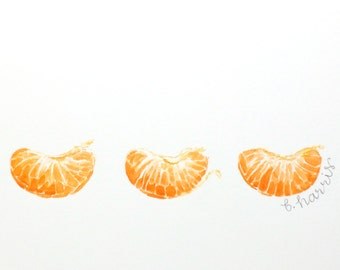 original watercolor - 3 tangerine segments