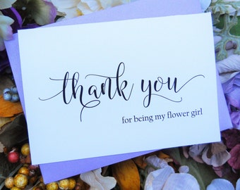 Thank You for BEING My FLOWER GIRL Card,  Shimmer Envelope, Flower Girl Card, Flower Girl Gift, Flower Girl Thank You Card