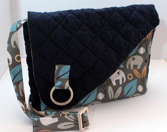 Messenger Bag Purse, Handbag dividers, Everyday Bag Laptop Bag, Women Gift For Her, Shoulder Bag Crossbody Bag, Handmade, elephant quilted