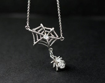ON SALE* Spider + Web necklace