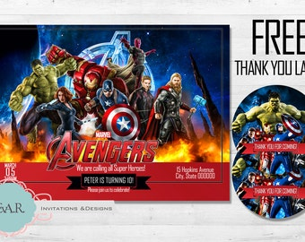 Avengers Birthday invitation with Free Thank you Label