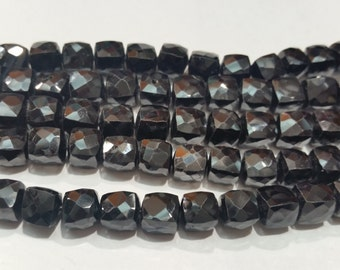 Black Spinel Cube faceted in 6mm & 8mm , Good Quality faceted box shape