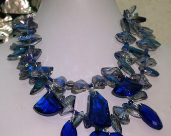 Statement Crystal Necklace - Blue and Grey Crystal Statement Necklace