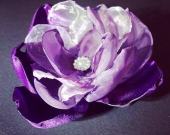 Purple FABRIC FLOWER, Handmade fabric flower, Brooch, Purple Flower Brooch, Clothes accessories, Purple Flower