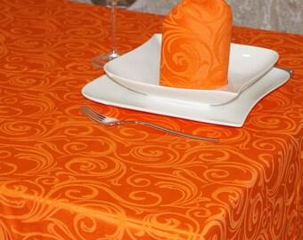Luxury Orange Tablecloth - Anti Stain Proof Resistant - Large sizes - Ref. Lyon