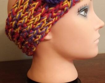 Purple, Red and Yellow headband/earwarmer