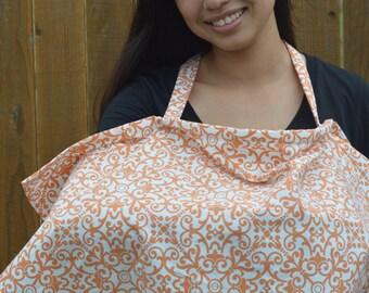 Nursing Cover up for breastfeeding - Classic Orange lattice