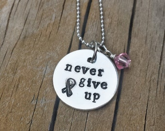Hand stamped Jewelry - Breast Cancer Necklace - Breast Cancer Awareness Gifts - Hand Stamped Necklace - Never Give Up necklace-Susan G Komen