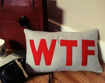 WTF Handmade Pillow, Trending Acronyms word pillow, wtf, lol, omg