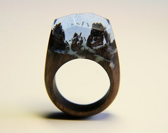 "Large Natural Wood Resin Ring ""Relic Forest"", Natural Jewelry, Wooden Ring, Eco Ring, Band Ring, ame of Thrones, Exclusive Ring"