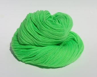 Hand Dyed Yarn - Hand Painted -  Green Apple - Lime Green - Dyed to Order