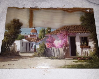 Jorge Prieto B Original signed painting on Onyx of Mexican Village