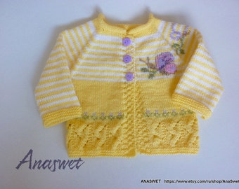 Knitted baby/Knitted baby cardigan.Baby jacket.Baby cardigan with embroudery.Knitting baby clothes..
