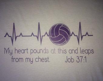 Custom Design Heartbeat Scripture Shirt Volleyball Football Baseball